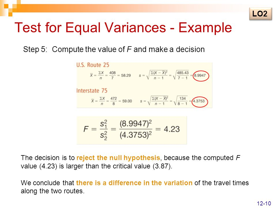 Test for Equal Variances - Example