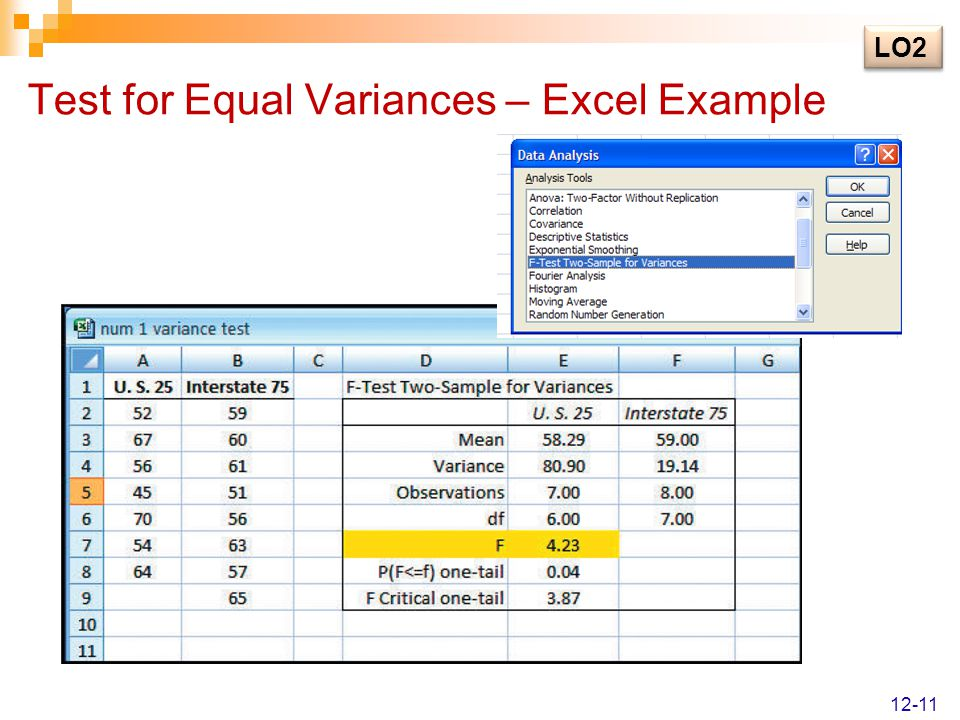 Test for Equal Variances – Excel Example