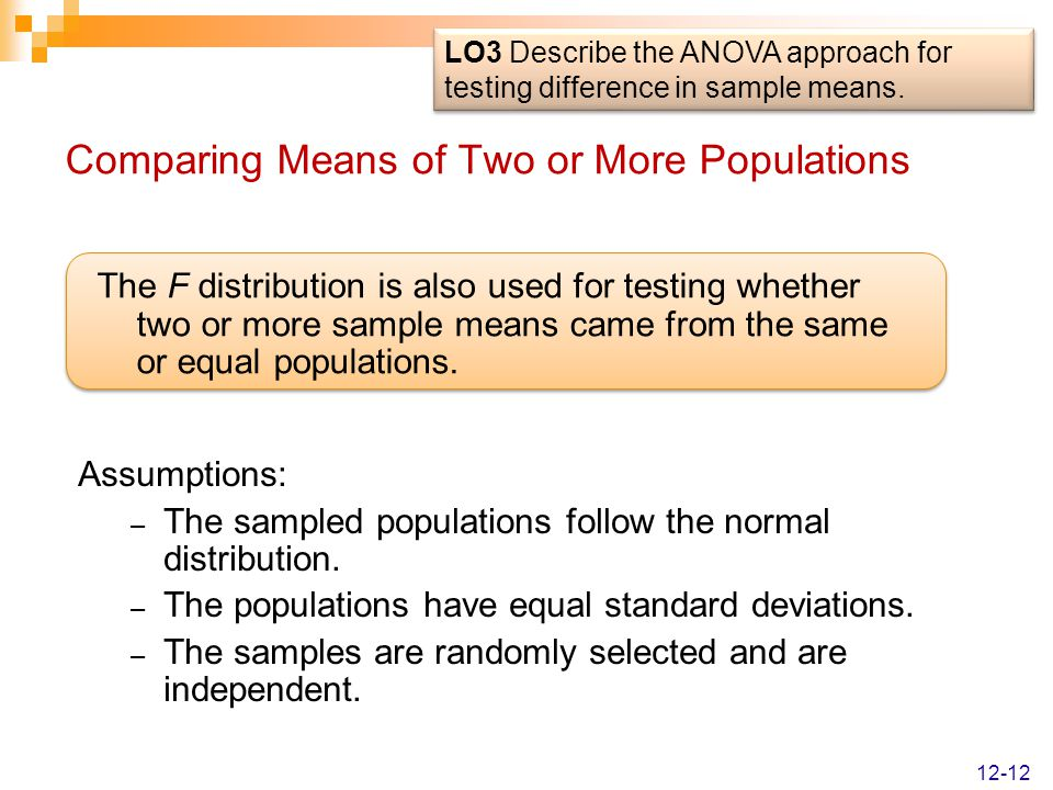 Comparing Means of Two or More Populations