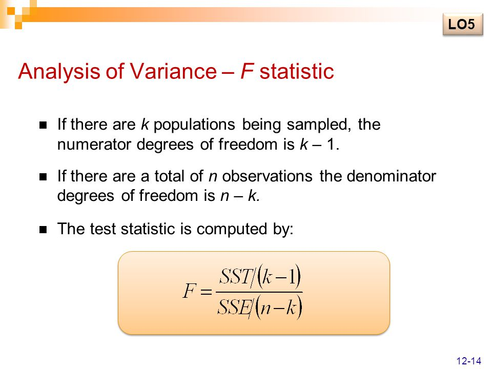 Analysis of Variance – F statistic