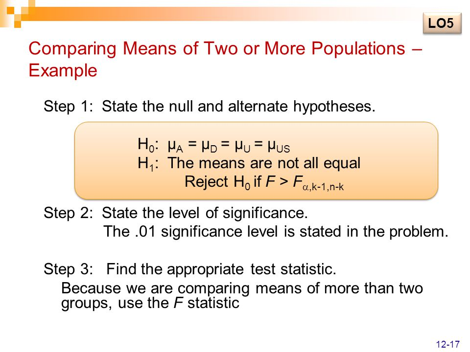 Comparing Means of Two or More Populations – Example