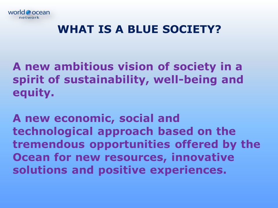 WHAT IS A BLUE SOCIETY A new ambitious vision of society in a spirit of sustainability, well-being and equity.