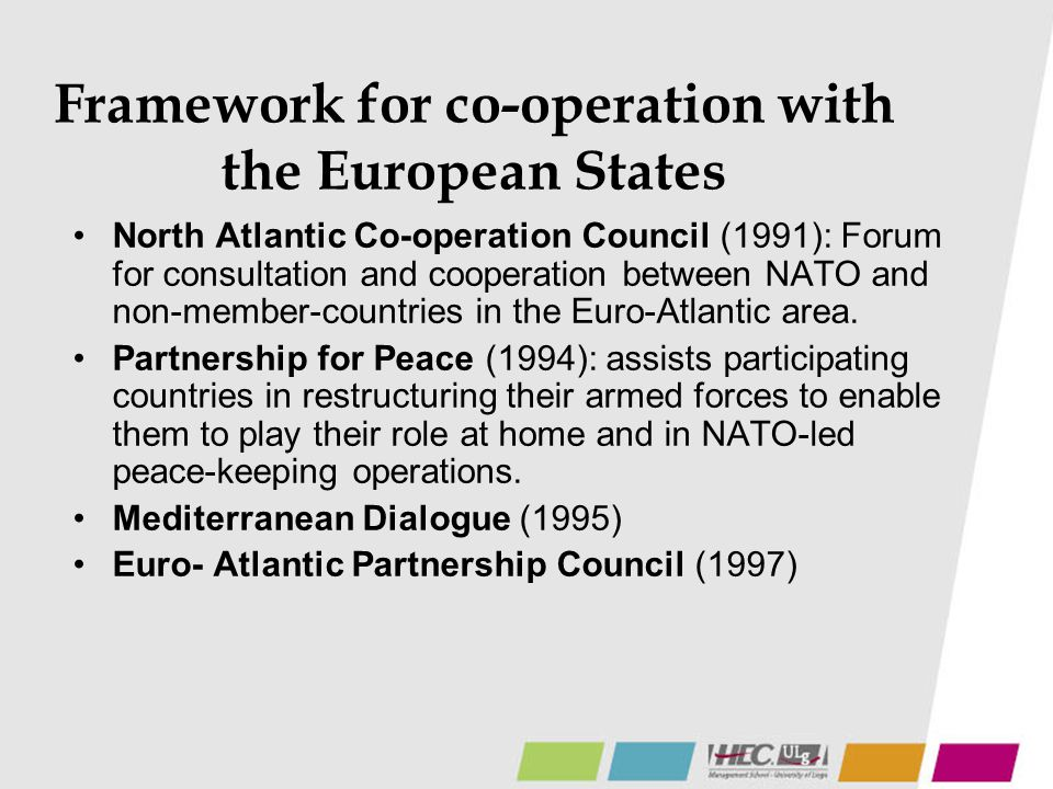 Framework for co-operation with the European States
