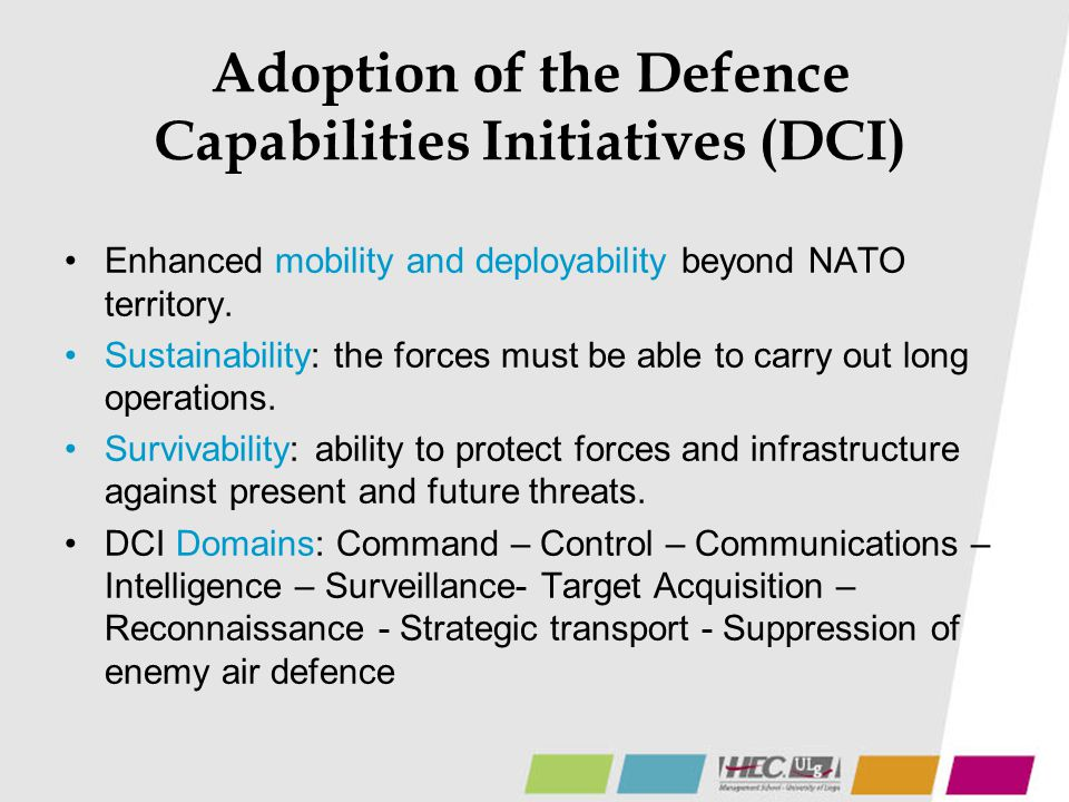 Adoption of the Defence Capabilities Initiatives (DCI)