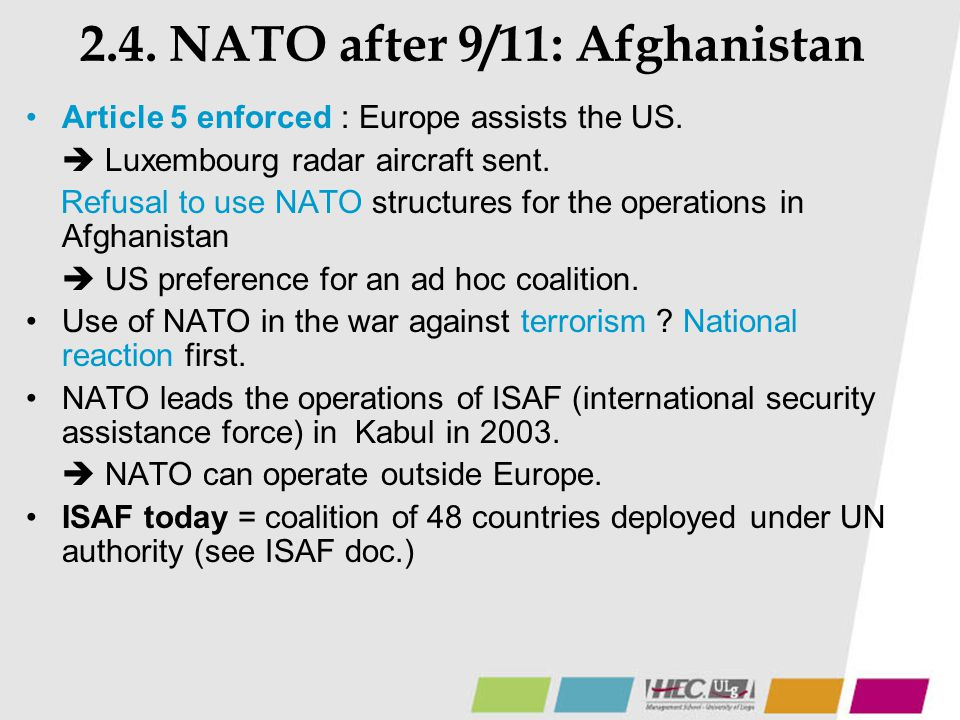 2.4. NATO after 9/11: Afghanistan
