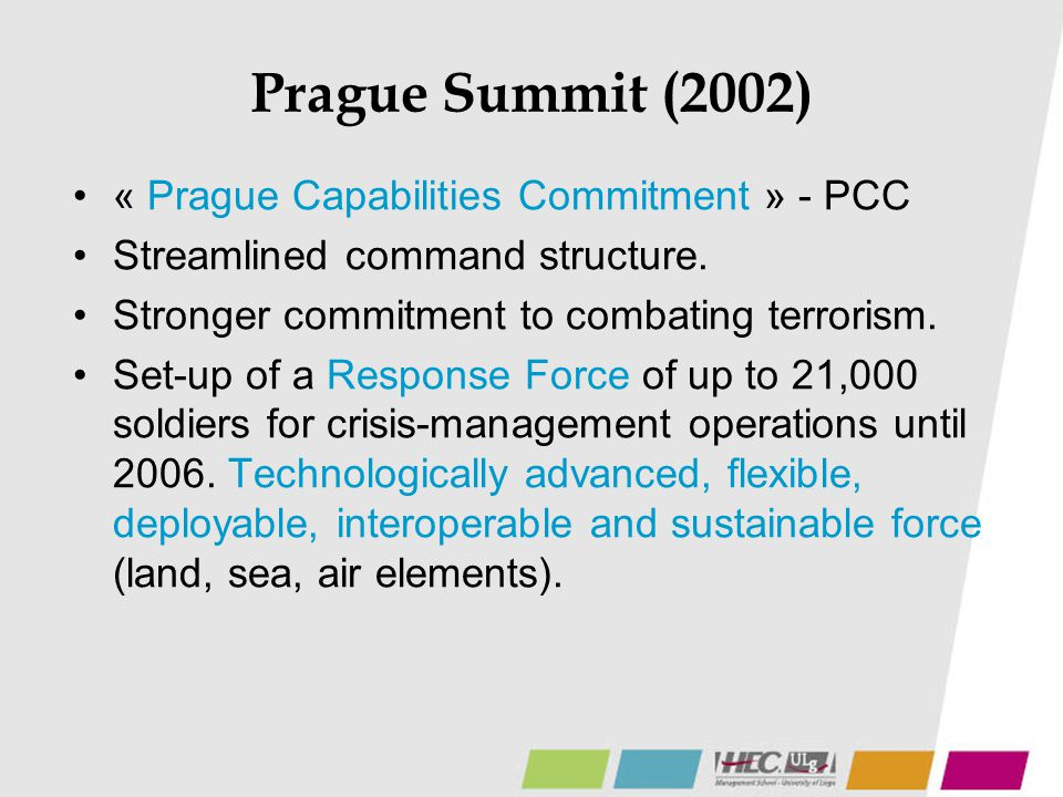 Prague Summit (2002) « Prague Capabilities Commitment » - PCC