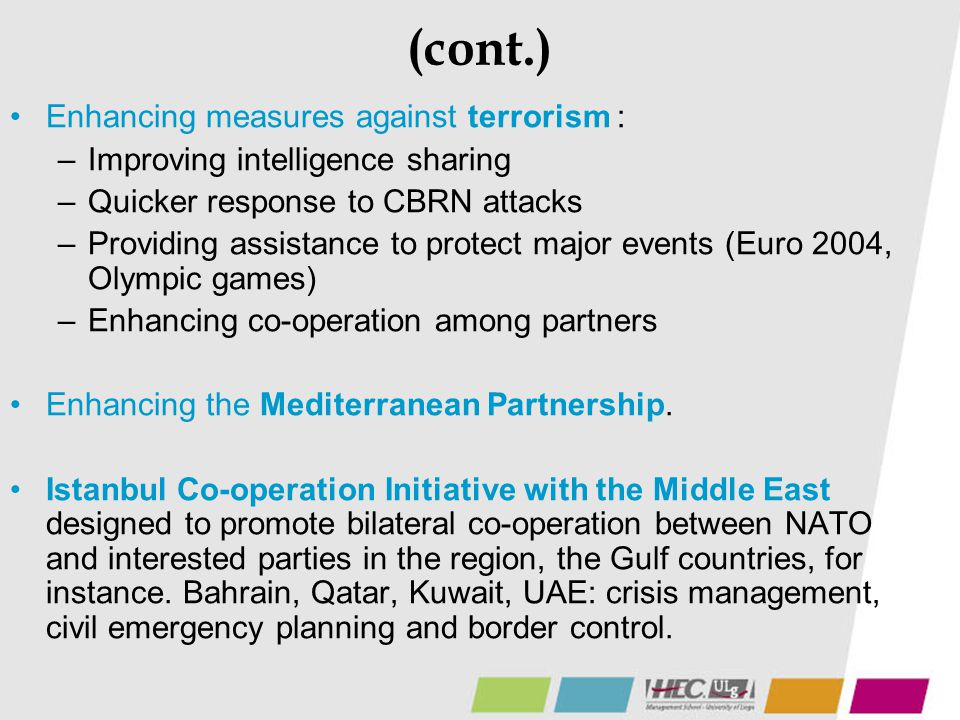(cont.) Enhancing measures against terrorism :