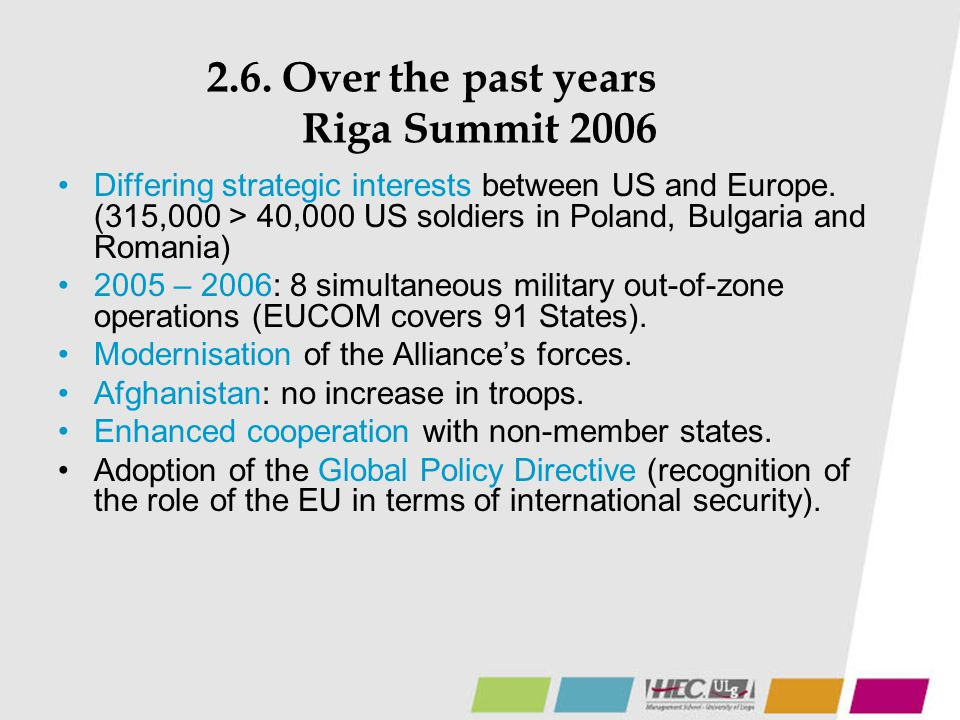 2.6. Over the past years Riga Summit 2006