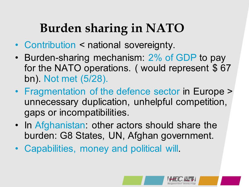 Burden sharing in NATO Contribution < national sovereignty.