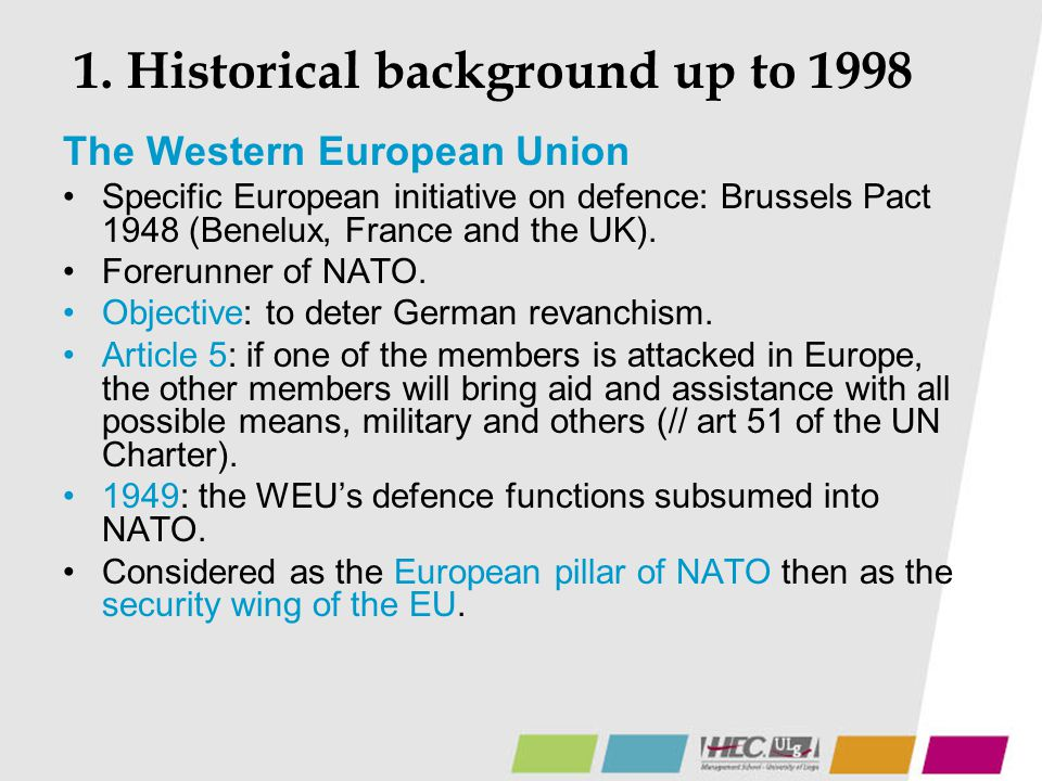 1. Historical background up to 1998