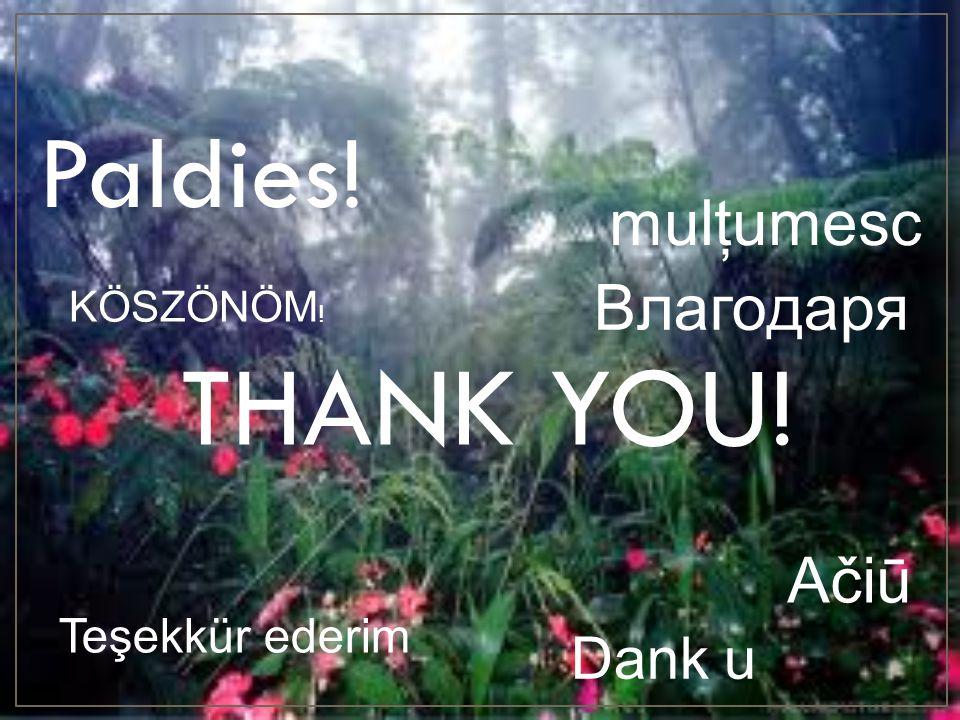 THANK YOU! Paldies! mulţumesc Bлагодаря Ačiū Dank u Teşekkür ederim