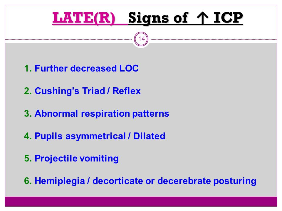 LATE(R) Signs of ↑ ICP Further decreased LOC Cushing's Triad / Reflex