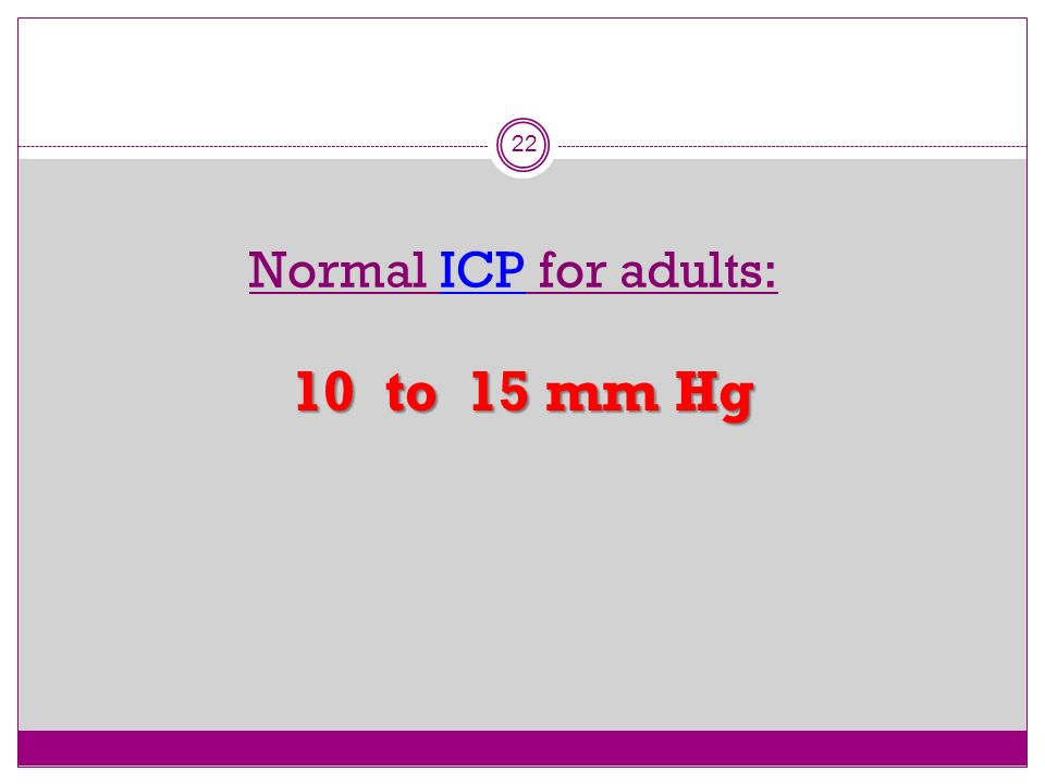 Normal ICP for adults: 10 to 15 mm Hg