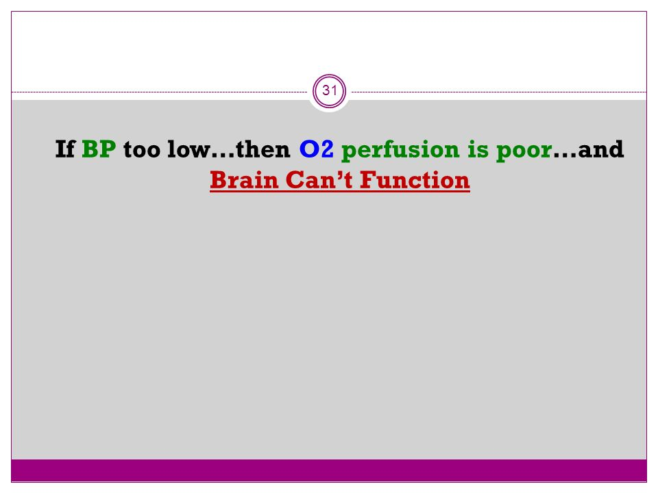 If BP too low…then O2 perfusion is poor…and Brain Can't Function