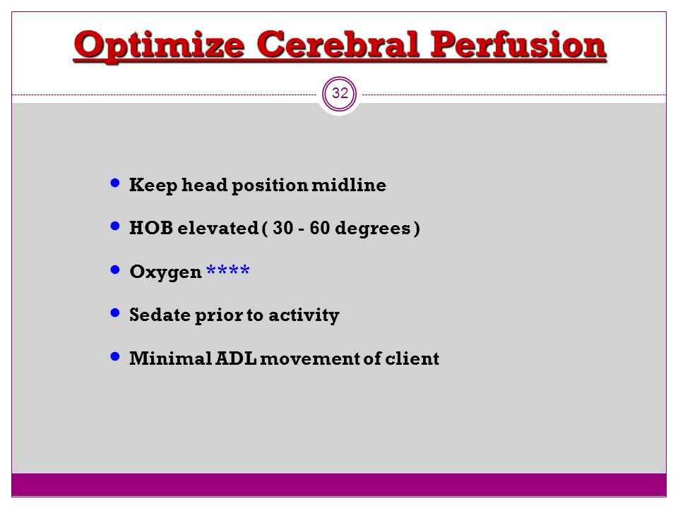 Optimize Cerebral Perfusion