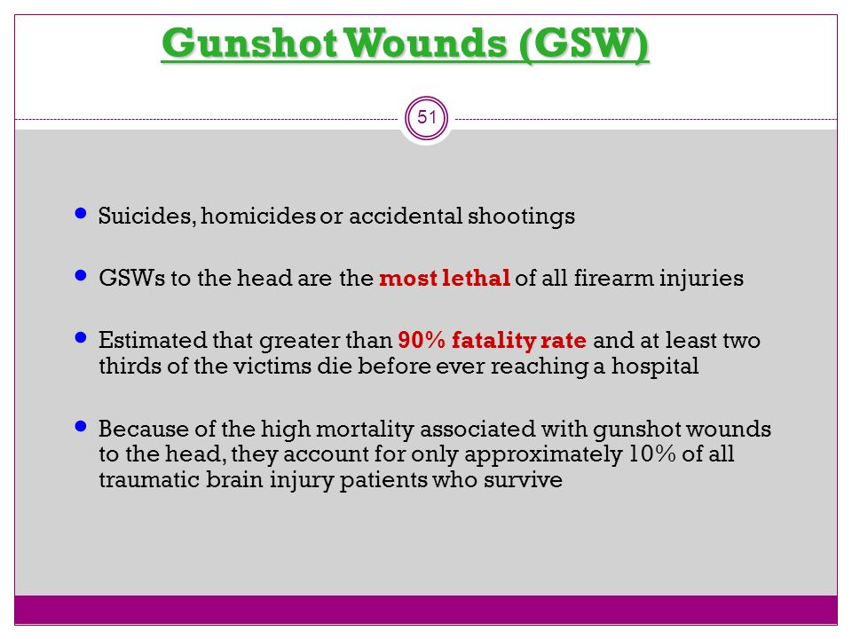 Gunshot Wounds (GSW) Suicides, homicides or accidental shootings