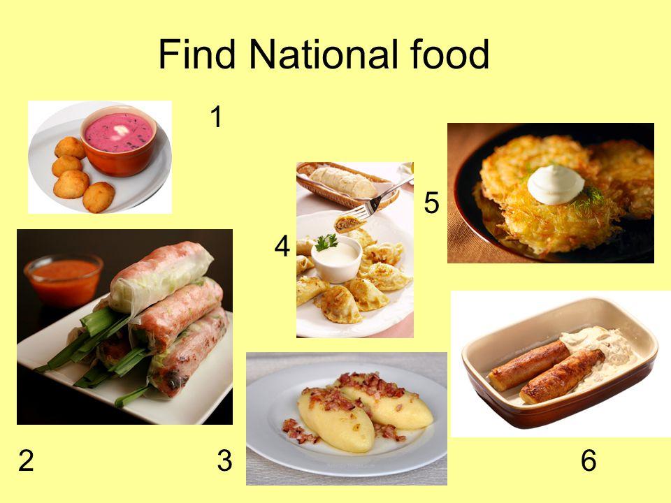 Find National food 1 5 4 2 3 6