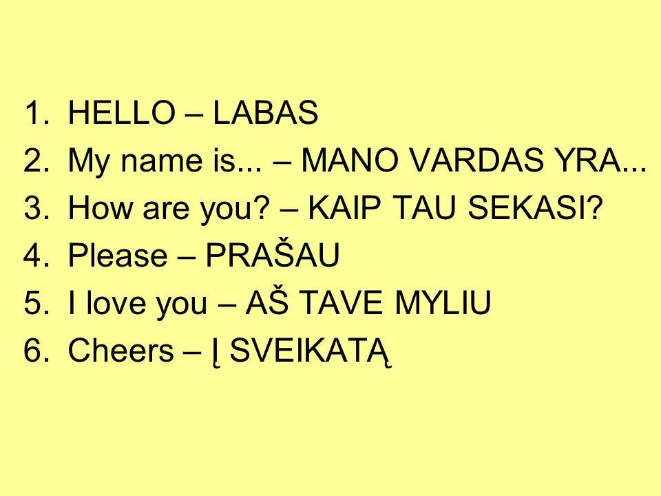 HELLO – LABAS My name is... – MANO VARDAS YRA... How are you – KAIP TAU SEKASI Please – PRAŠAU.