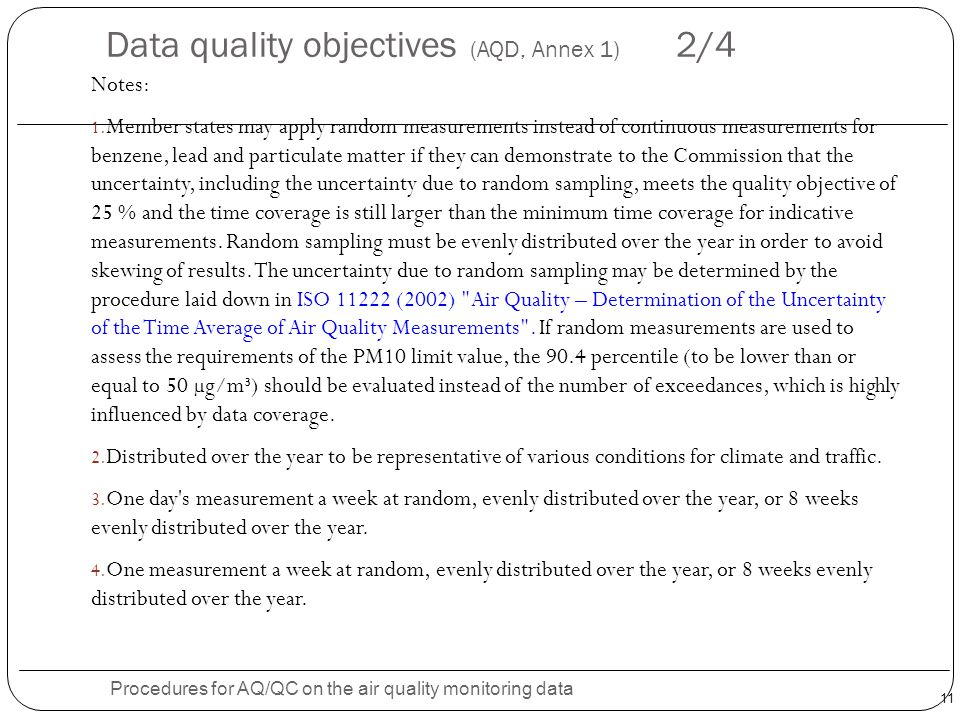 Data quality objectives (AQD, Annex 1) 2/4