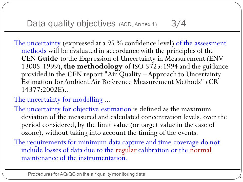 Data quality objectives (AQD, Annex 1) 3/4