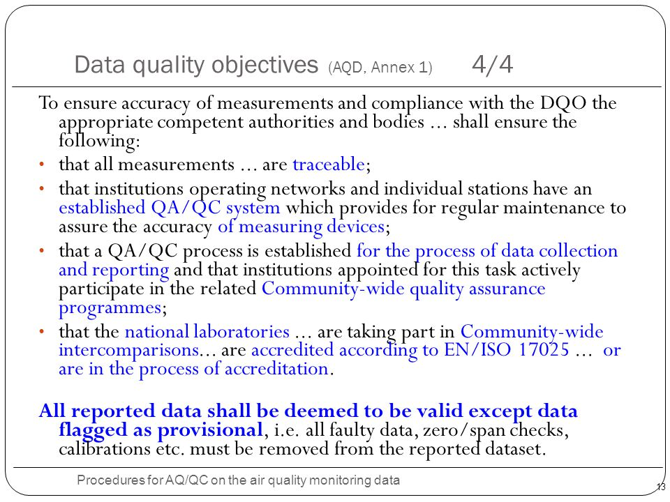 Data quality objectives (AQD, Annex 1) 4/4