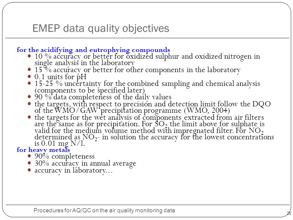 EMEP data quality objectives