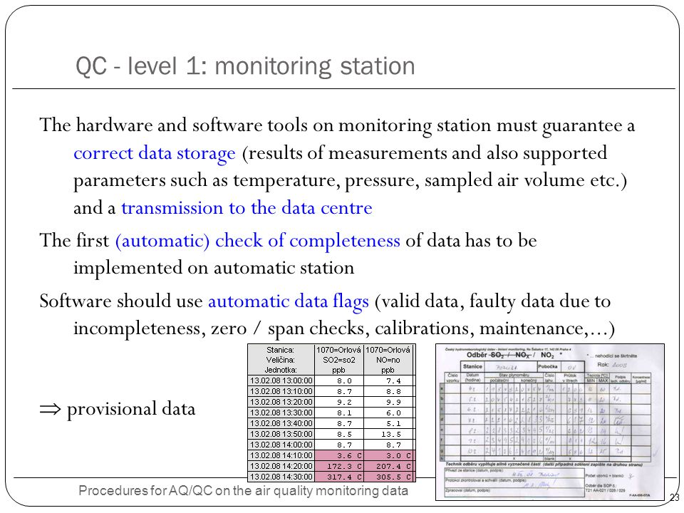 QC - level 1: monitoring station