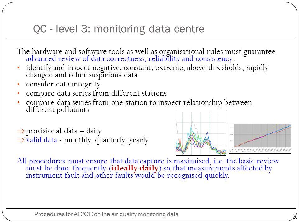 QC - level 3: monitoring data centre