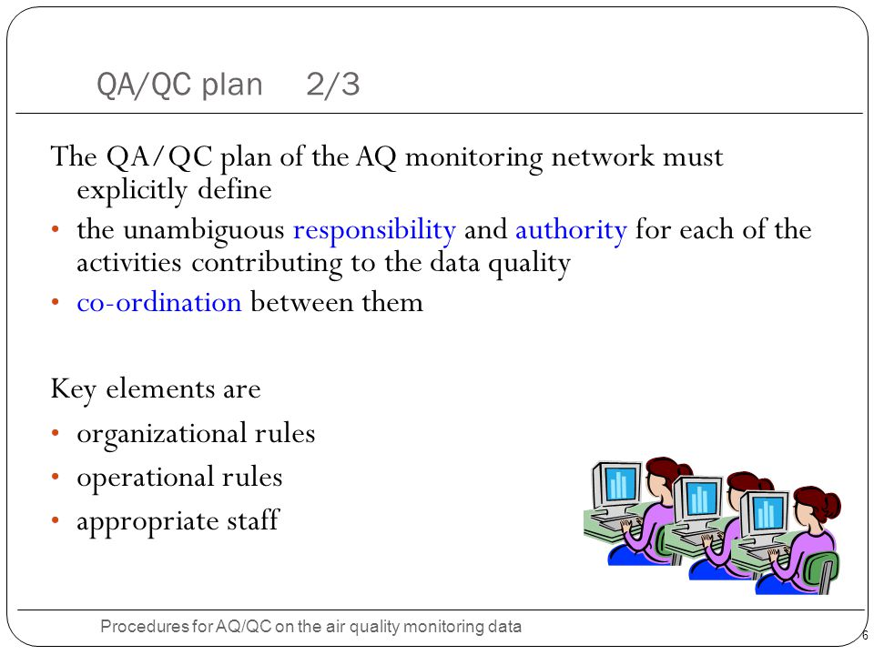 Procedures for AQ/QC on the air quality monitoring data