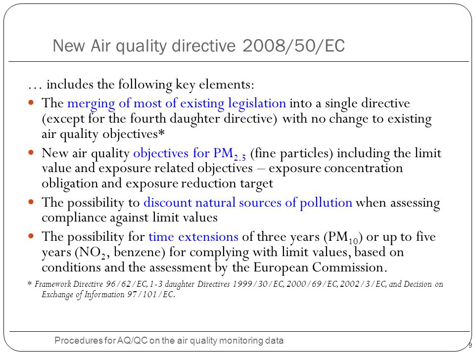 New Air quality directive 2008/50/EC