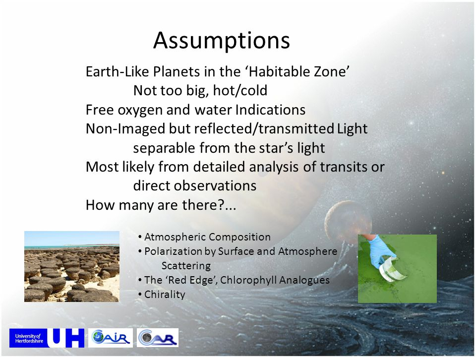 Assumptions Earth-Like Planets in the 'Habitable Zone'