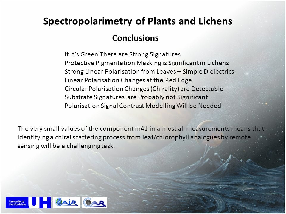 Spectropolarimetry of Plants and Lichens