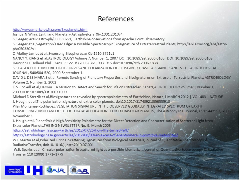 References http://www.markelowitz.com/Exoplanets.html