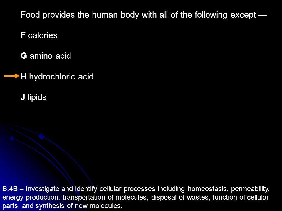 Food provides the human body with all of the following except —