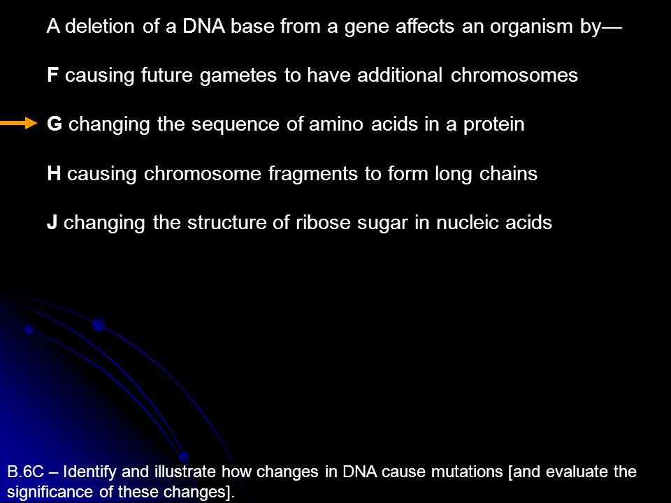A deletion of a DNA base from a gene affects an organism by—