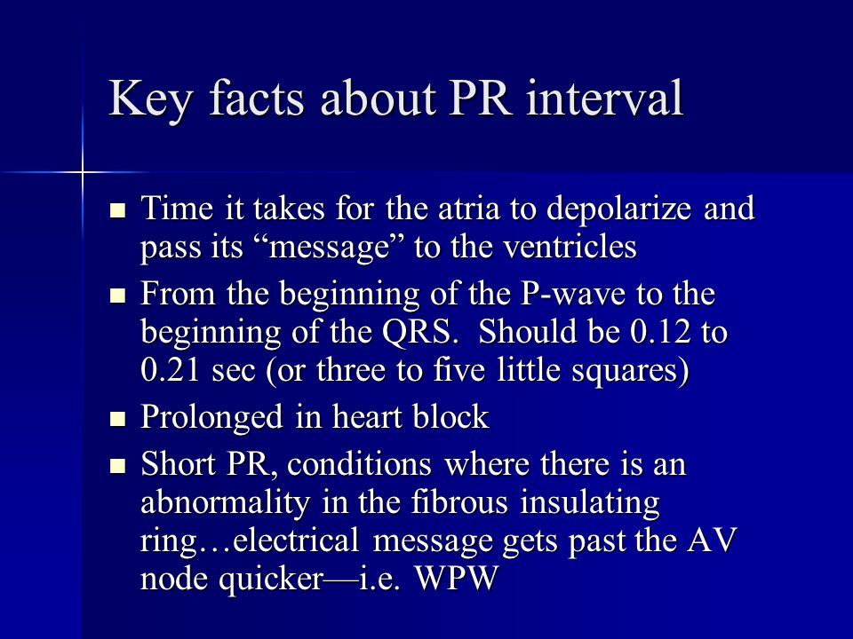 Key facts about PR interval