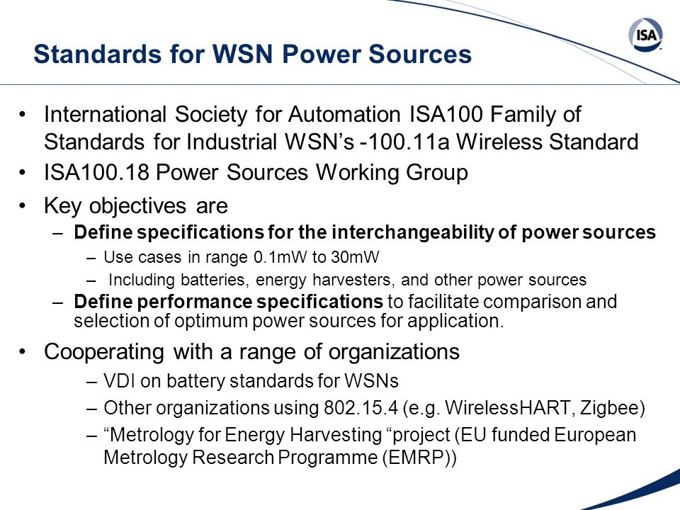 Standards for WSN Power Sources