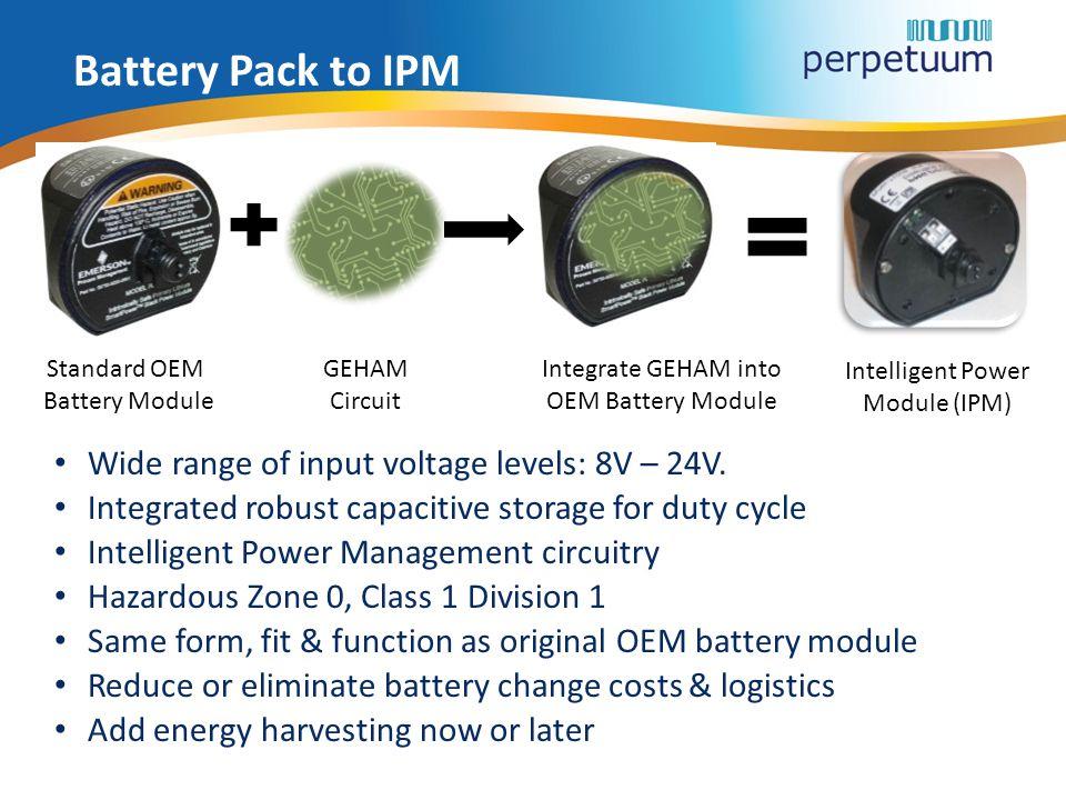 Battery Pack to IPM Wide range of input voltage levels: 8V – 24V.