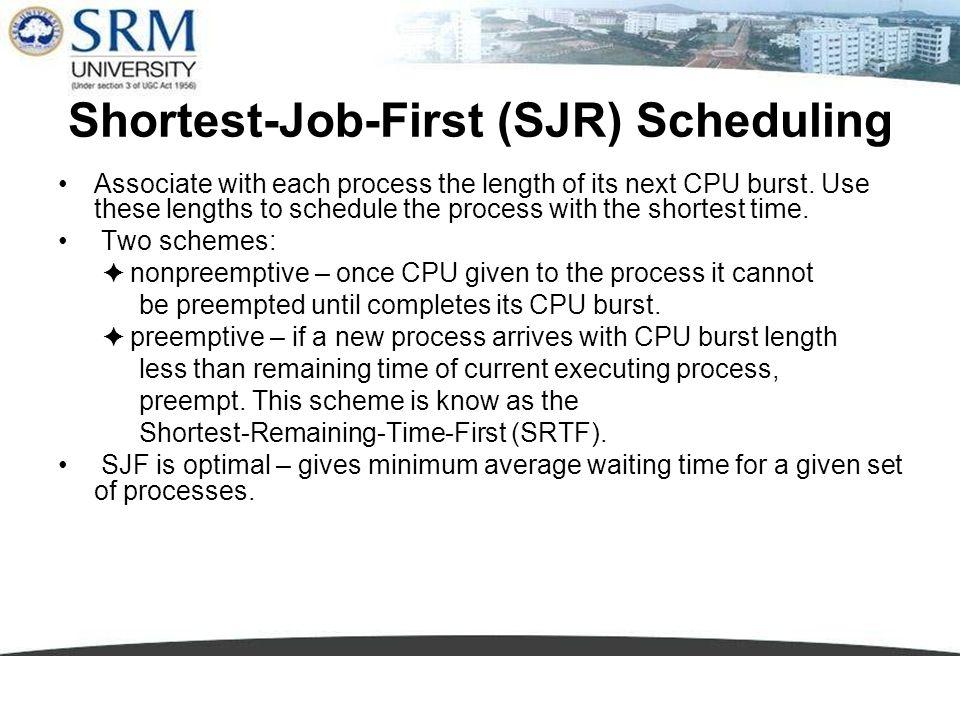 Shortest-Job-First (SJR) Scheduling