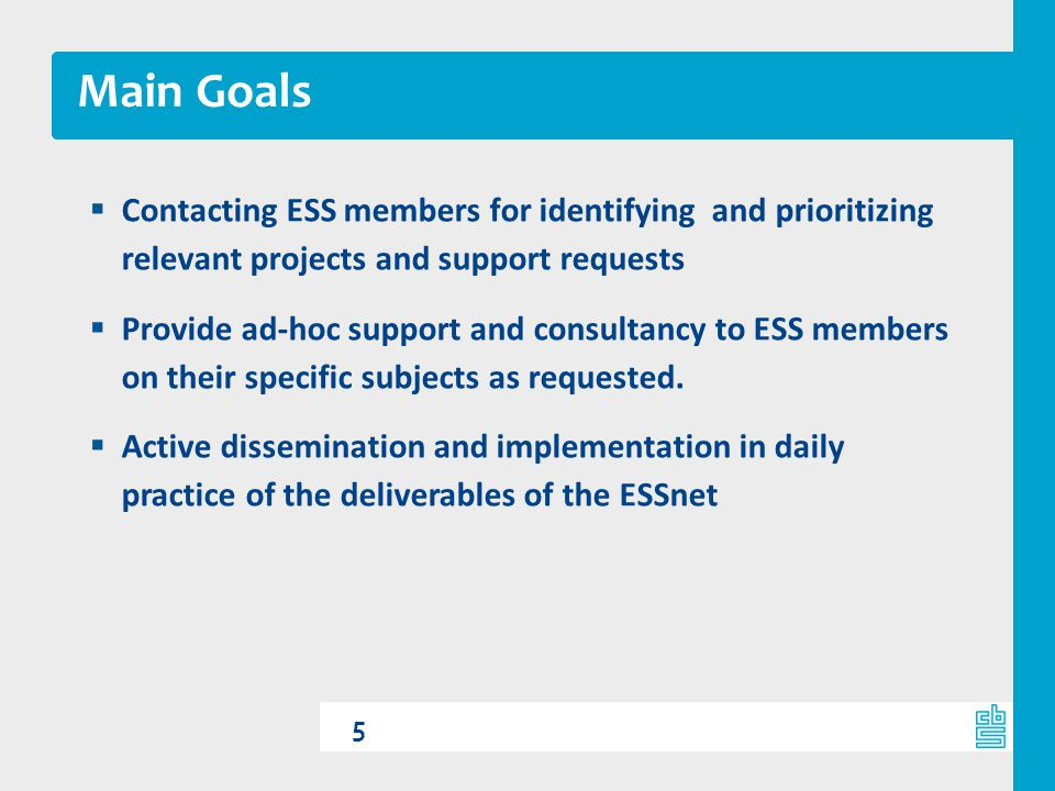 Main Goals Contacting ESS members for identifying and prioritizing relevant projects and support requests.