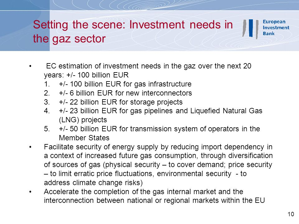 Setting the scene: Investment needs in the gaz sector