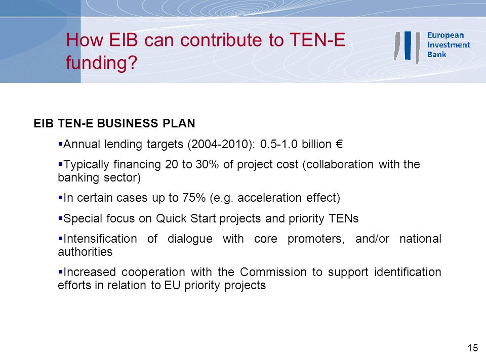 How EIB can contribute to TEN-E funding