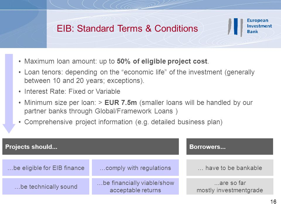 EIB: Standard Terms & Conditions