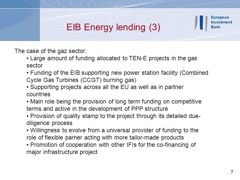 EIB Energy lending (3) The case of the gaz sector: