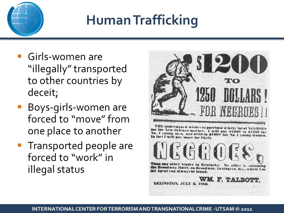 Human Trafficking Girls-women are illegally transported to other countries by deceit;