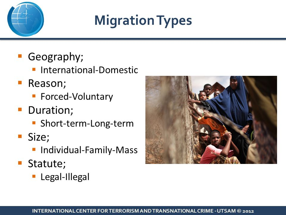 Migration Types Geography; Reason; Duration; Size; Statute;