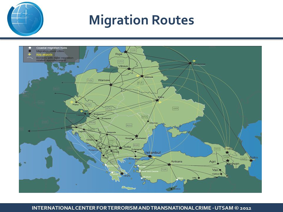 Migration Routes INTERNATIONAL CENTER FOR TERRORISM AND TRANSNATIONAL CRIME - UTSAM © 2012