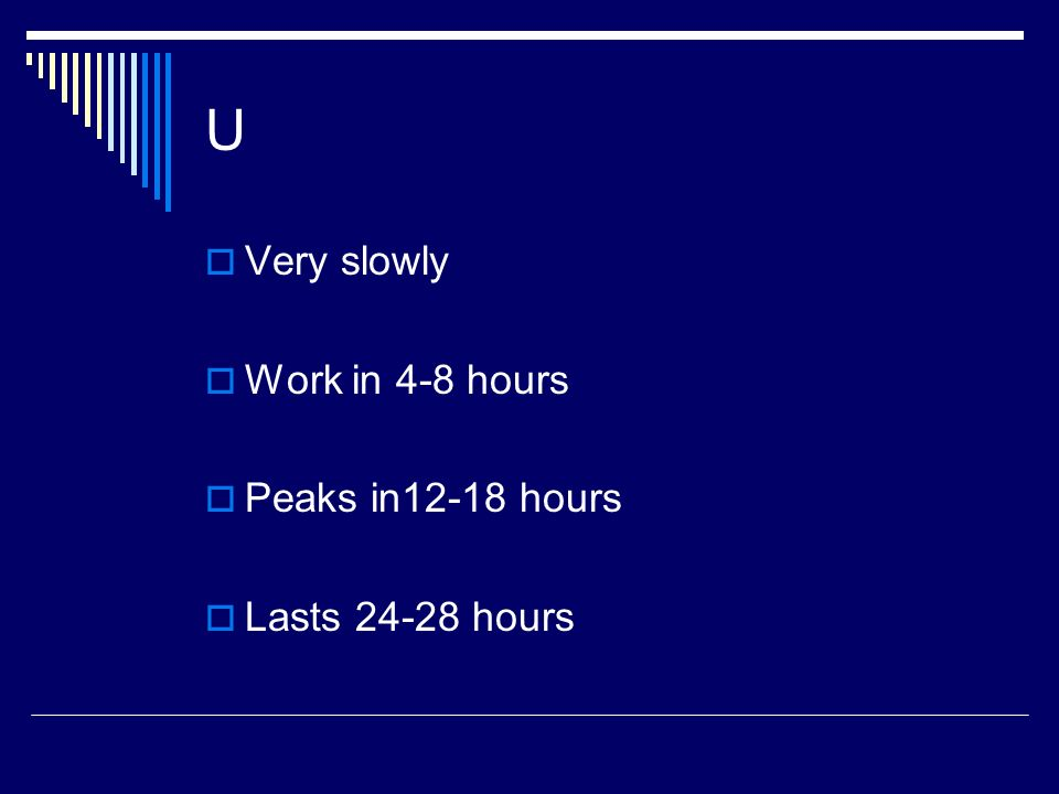 U Very slowly Work in 4-8 hours Peaks in12-18 hours Lasts 24-28 hours
