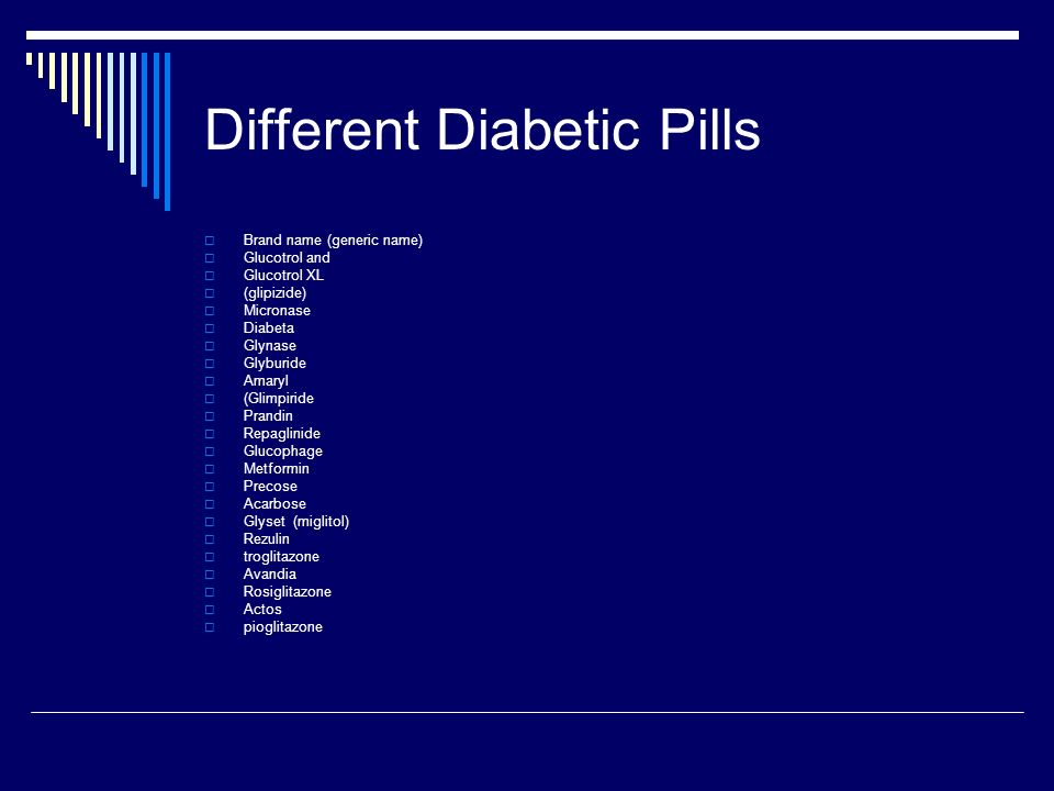 Different Diabetic Pills