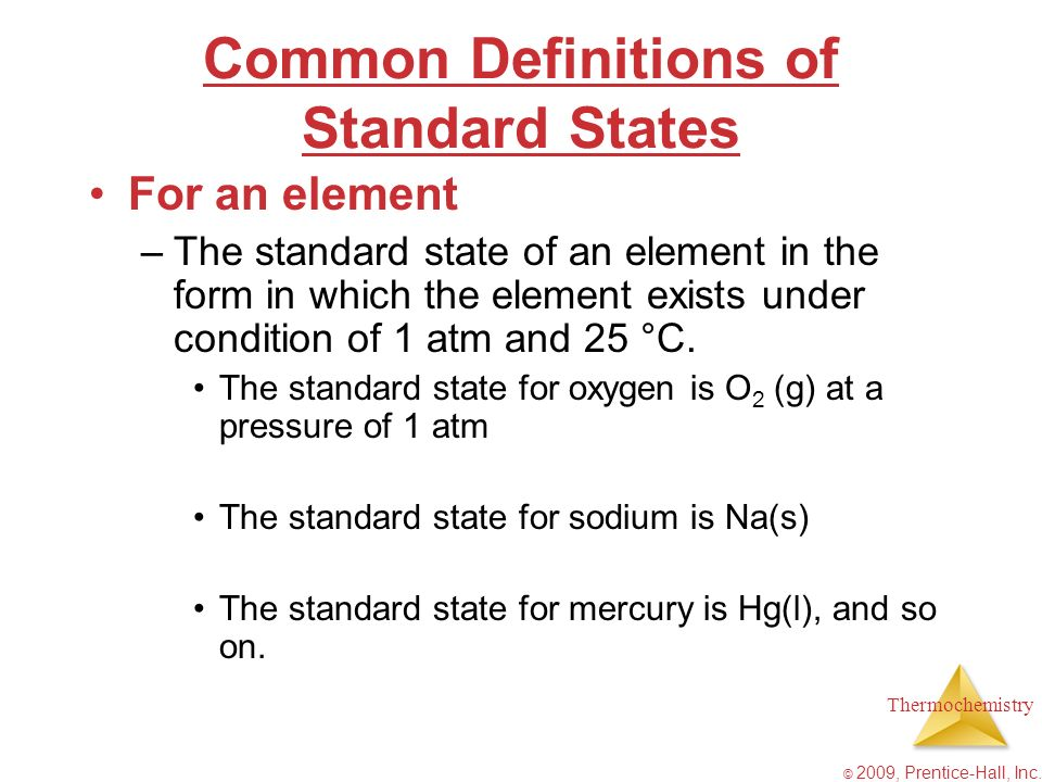 Common Definitions of Standard States
